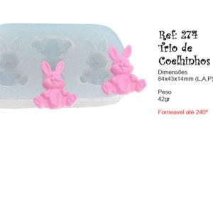 Trio de coelhinhos – Flexarte – molde – forneável