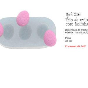 Trio de ovinhos com bolinhas – Flexarte – molde – forneável