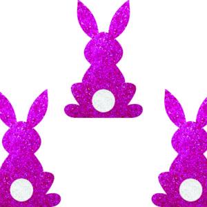 Aplique Glitter coelho rosa 3,5×05 cm