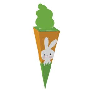 Caixa cone cenoura – coelho na cenoura